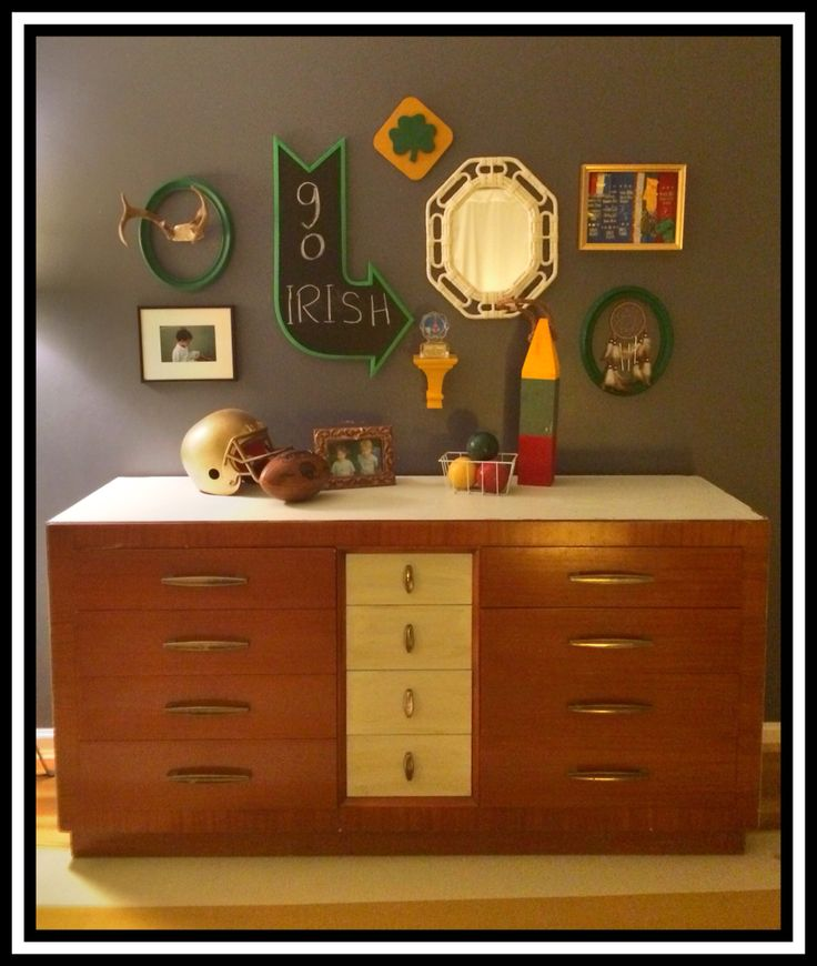 Little boy sports bed room. Vintage. Camp. Football. Collegiate. Notre Dame. https://www.facebook.com/Thepaintedcrowe
