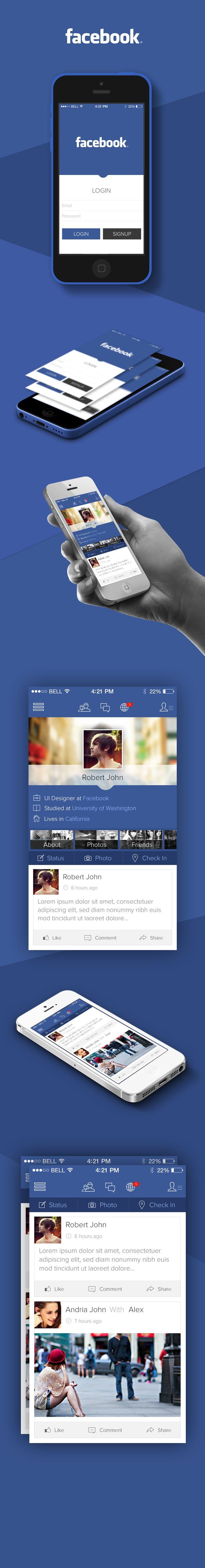 Facebook iOS7 Redesign via @Behance - http://www.behance.net/gallery/Facebook-iOS-7-Redesign-Concept/12073751