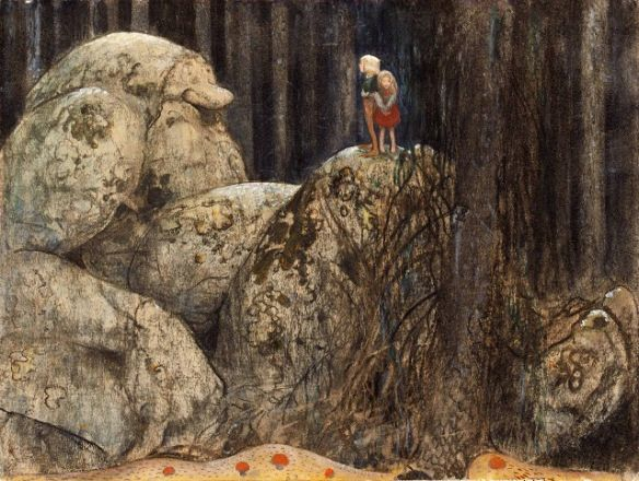 """••━╋━••  In Scandinavian folklore, the Norwegian name Tusse for a kind of troll or nisse, derives from Old Norse Þurs. Old English also has the cognate þyrs of the same meaning.Jǫtunn (Proto-Germanic *etunaz) might have the same root as """"eat"""" (Proto-Germanic *etan) and accordingly had the original meaning of """"glutton"""" or """"man-eater"""", possibly in the sense of personifying chaos, the destructive forces of nature."""