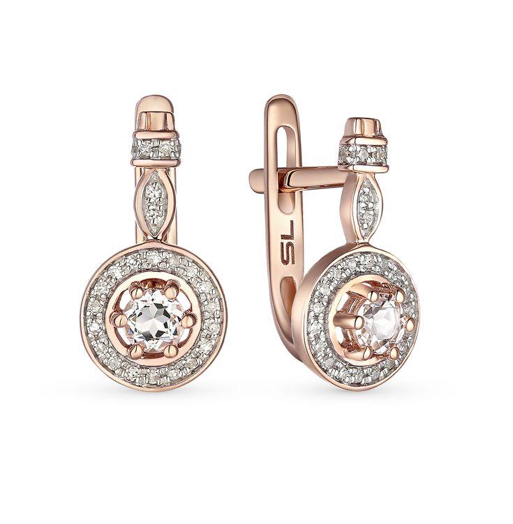 Золотые серьги с бриллиантами и топазами