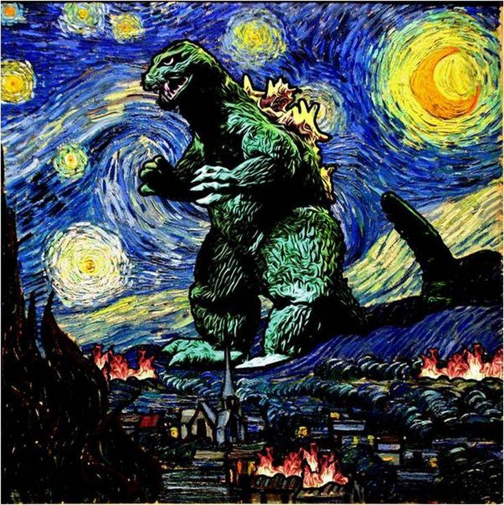 """La """"Nuit étoilée"""" de Van Gogh à toutes les sauces : Godzilla"""