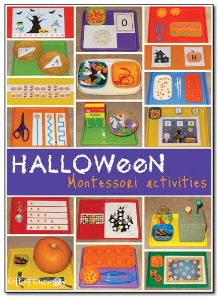 Halloween Montessori activities - a huge list of activities you can do with your preschooler with links to many printables.
