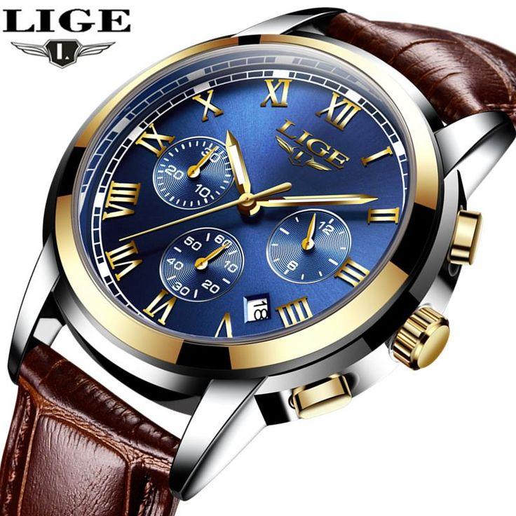 LIGE Men's Luxury Quartz Watches, Leather Band, Waterproof