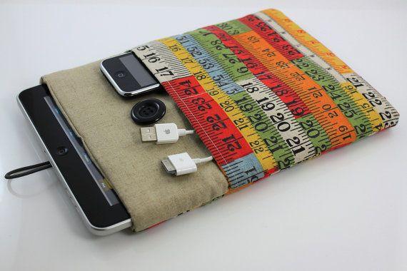 Cover iPad Case, funda, iPad iPad, acolchada, con bolsillos para el iPhone - cinta métrica colorido Retro