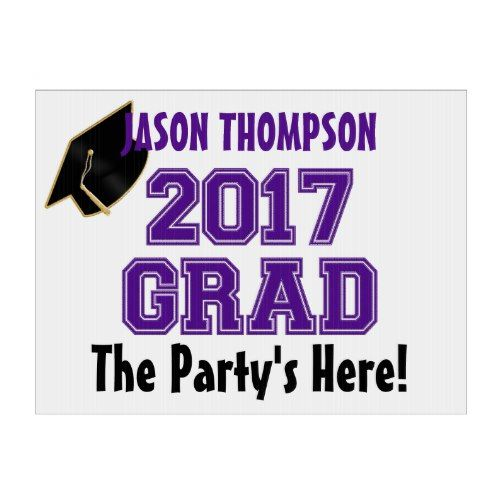 2017 Grad, Purple-White-Custom Yard Sign, Med. Lawn Sign