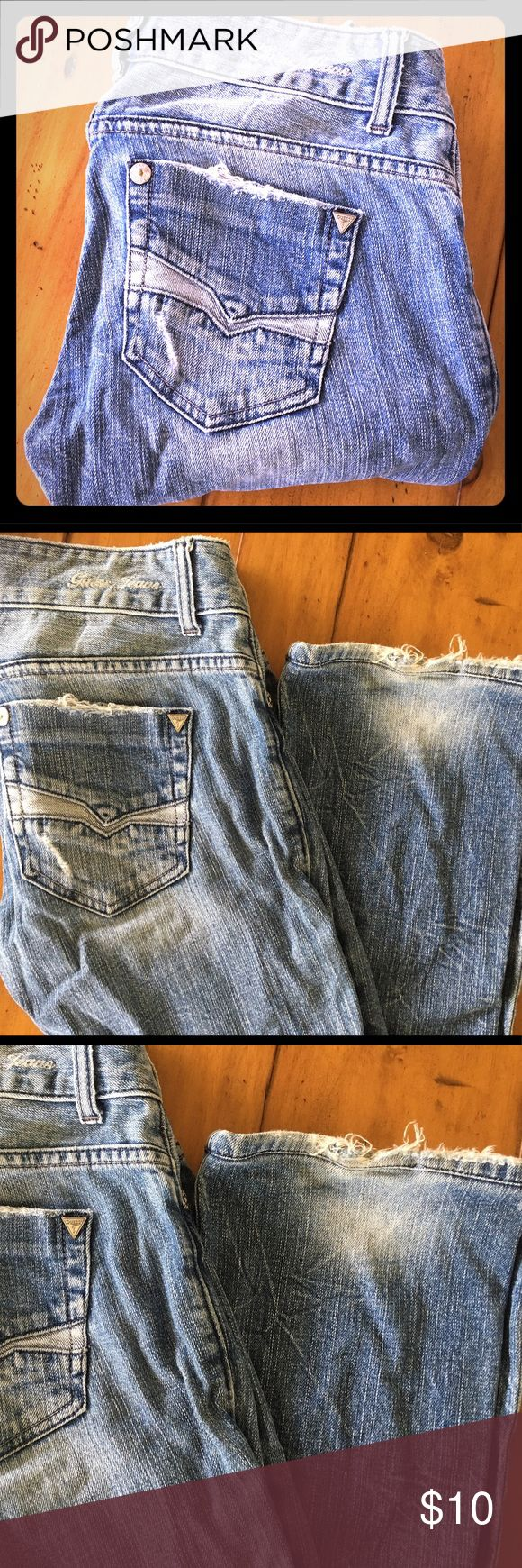 """Guess Daredevil Bootcut- well worn and well loved My absolute favorite pair of jeans pre baby! I wore these all the time. They are broken in but I know they still have a lot of life! These will be your go to pair when you just want to hangout. People pay good money to have them made to look worn but these baby's have done their time! These are the most comfortable and flattering for a petite women. I had them professionally hemmed 30"""" inseam. Guess Jeans Boot Cut"""