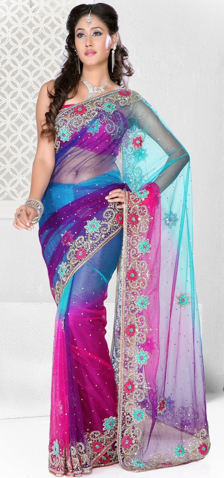 Multicolor #Wedding Net #Saree