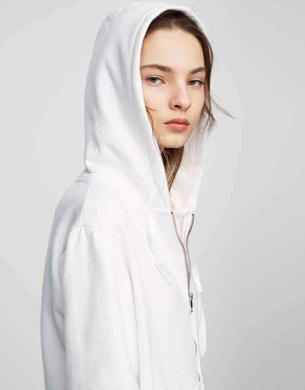 Pull&Bear - donna - novità - felpa basic con cerniera - bianco - 05592340-V2017