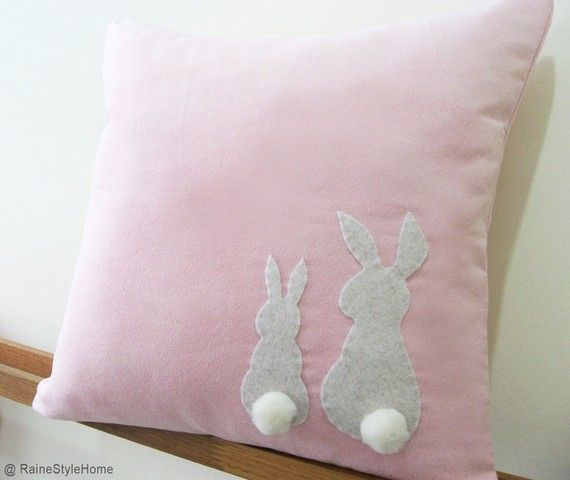 Two Little Lovely Rabbits Soft Pink Pillow Cover. Spring Summer Bunny. Pom Pom Appliques. $25.50, via Etsy.