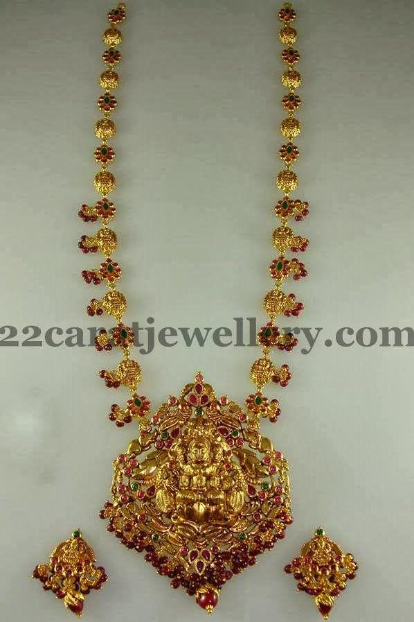 Jewellery Designs: Floral Lakshmi Haram