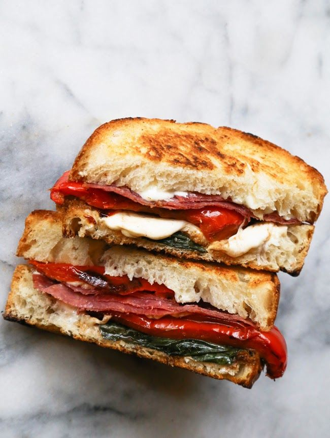 Roasted Red Pepper, Basil  Salami Grilled Cheese