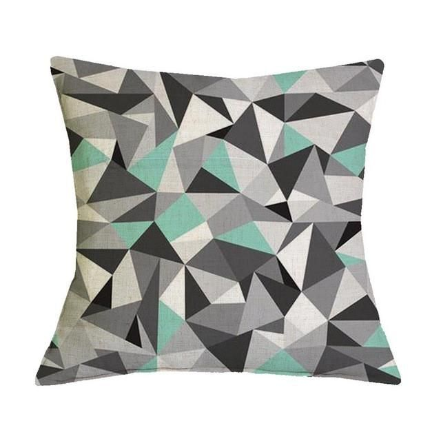 Green Black and White Geometric Graphic Pattern Pillow Case
