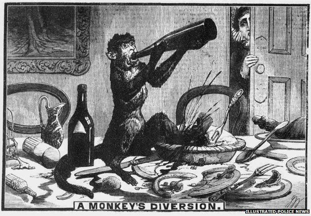 """A Monkey's Diversion"", Illustrated Police News  - Drunken Monkey Smashes Up Bar"
