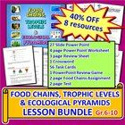 This lesson bundle contains EIGHT EDITABLE RESOURCES to teach food chains, trophic levels and ecological pyramids.  Altogether they represent a rea...