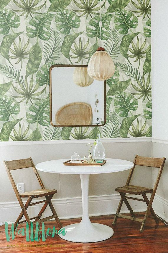 BLACK FRIDAY 30% OFF Tropical Pattern Wallpaper -Exotic Removable Wallpaper - Palm leaves Wallpaper- Exotic Wall Sticker -Tropical Palm leav