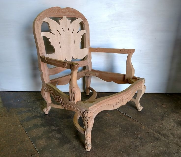 Xs Upholstery Unfinished Raw Carved Acanthus Leaf Accent Chair