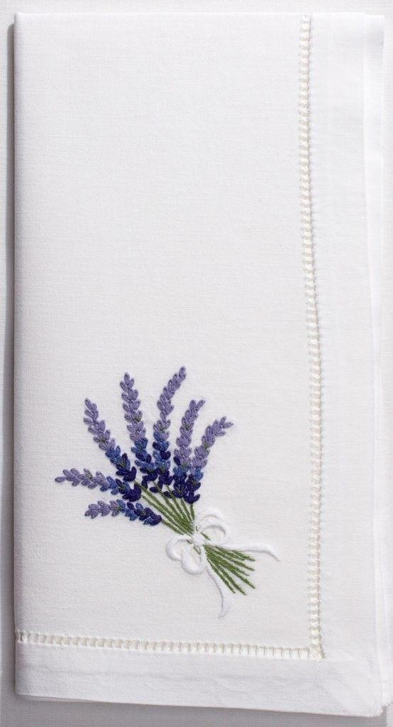 White Cotton Lavender Bouquet Dinner Napkins, Set of Four