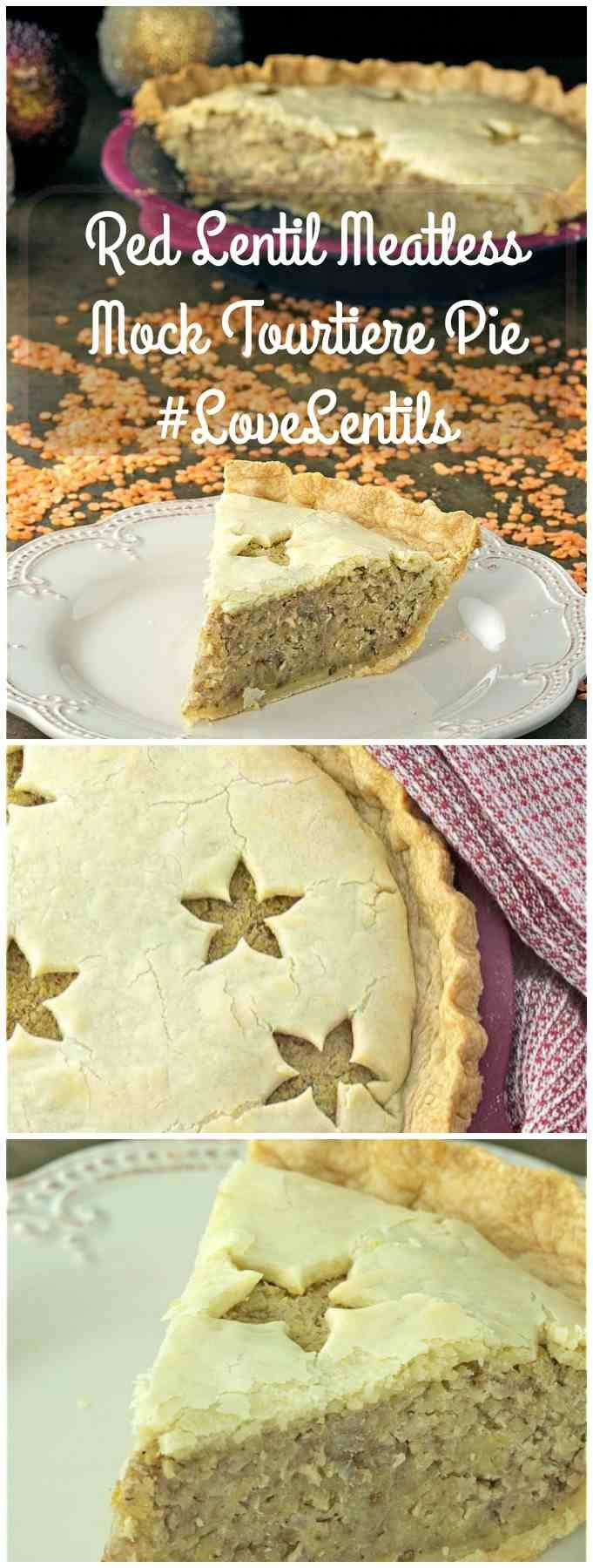 Red Lentil Meatless Mock Tourtiere Pie is the perfect alternative to the traditional French Canadian classic using lentils instead of meat.| homemadeandyummy.com