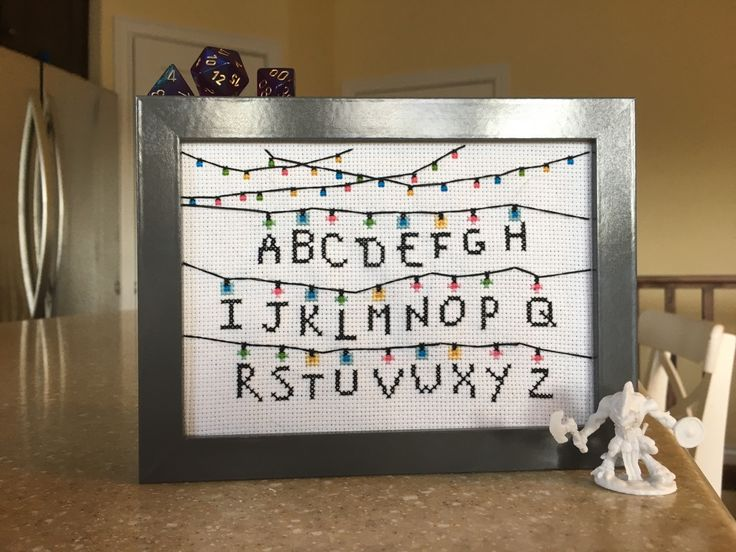 "snitchesstitches: ""Friend, who has not seen Stranger Things: Aww, what a fun back-to-school cross stitch! It's so festive with the lights! Me: ….yes "" @najettemae my patterns are for sale! This one is $4."