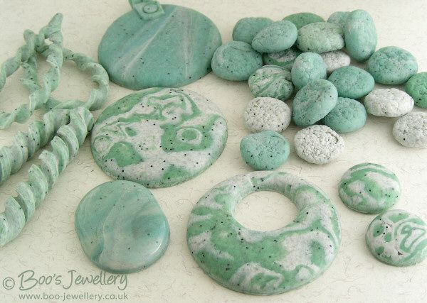 polymer clay faux stones - use salt to create texture and inclusions to create speckles.