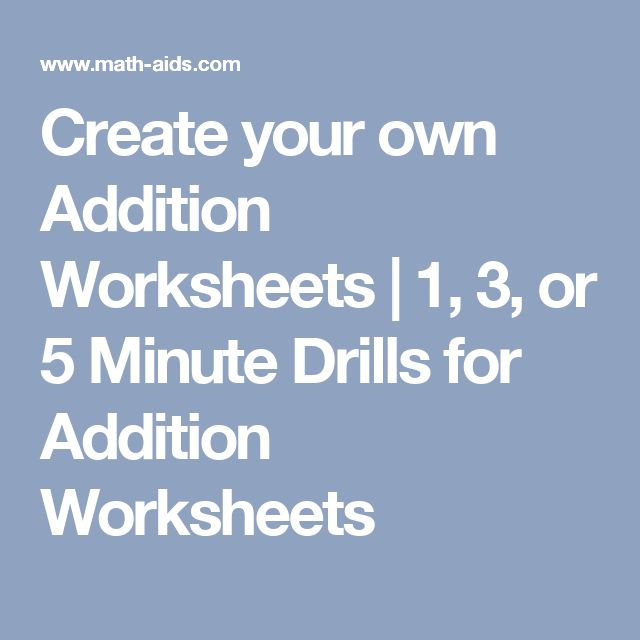 Addition worksheets create your own
