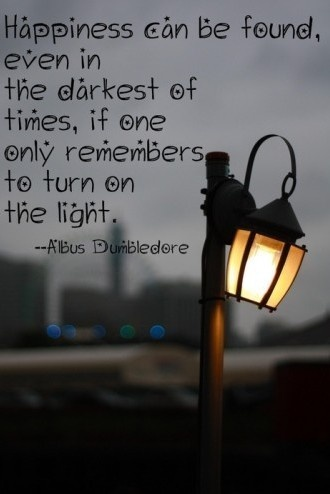 """Happiness can be found even in the darkest of times, if one only remembers to turn on the light."" --J.K. Rowling"