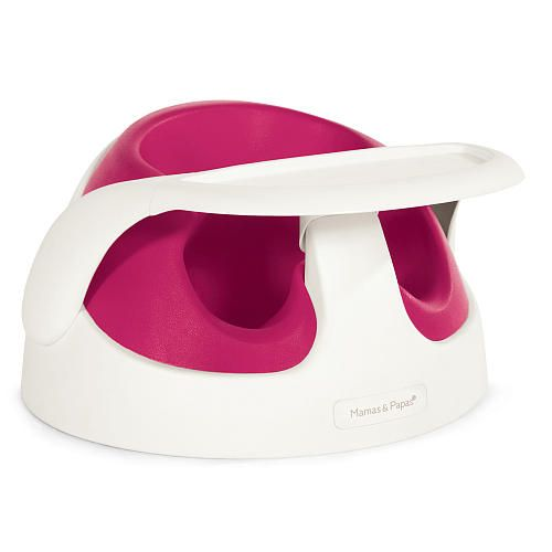 Mamas and Papas Baby Snug - Rasberry is a two stage seat that helps babies sit up and mums sit down. Tray included.