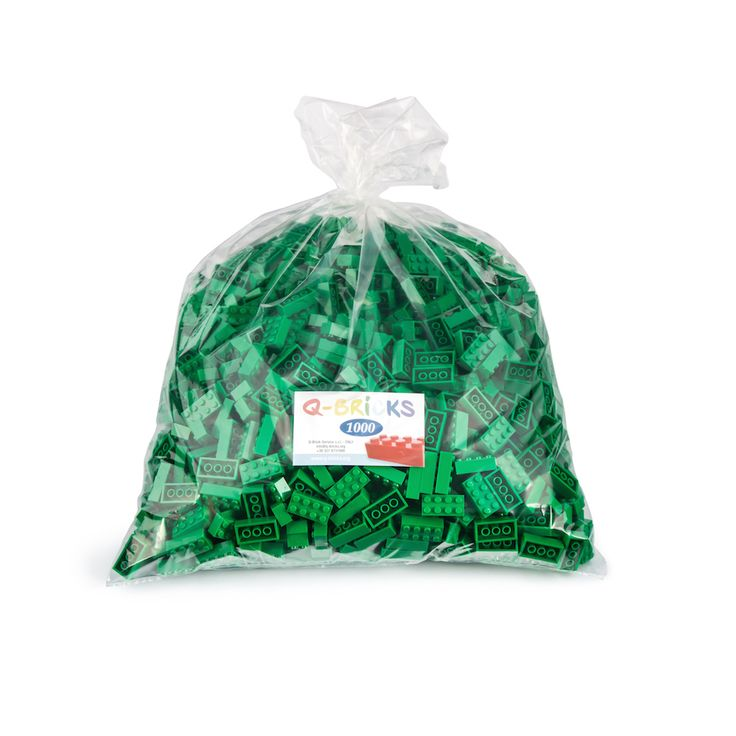 Sacchettino di mattoncini verdi 1000 pz - Green lego bricks bag 1000pcs