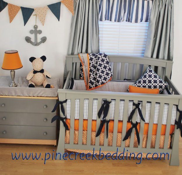 Orange and navy nautical nursery orange in the nursery for Nautical nursery fabric