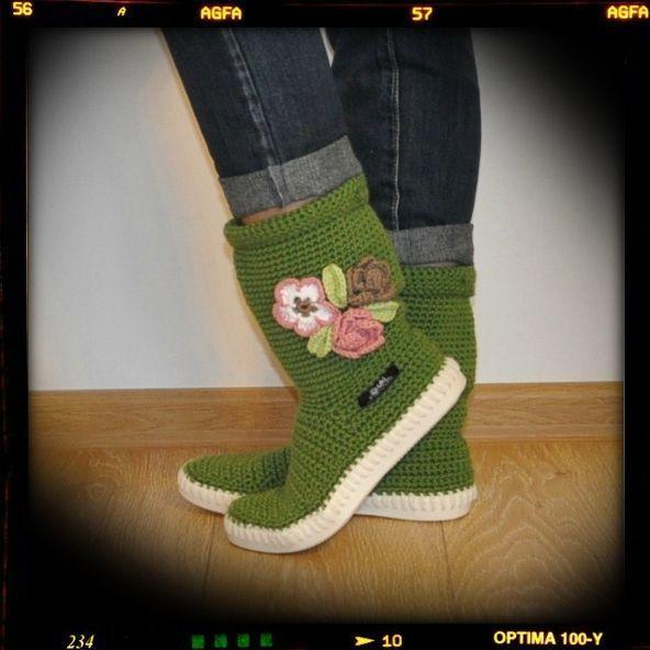 Crochet boots summer boots knit boot hippie folk  from Uki-Crafts by DaWanda.com
