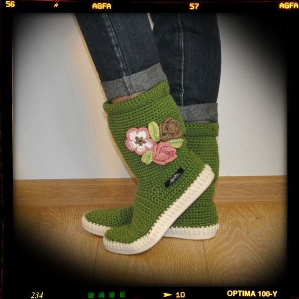 Crochet boots summer boots knit boot hippie folk  from Uki-Crafts by DaWanda.com