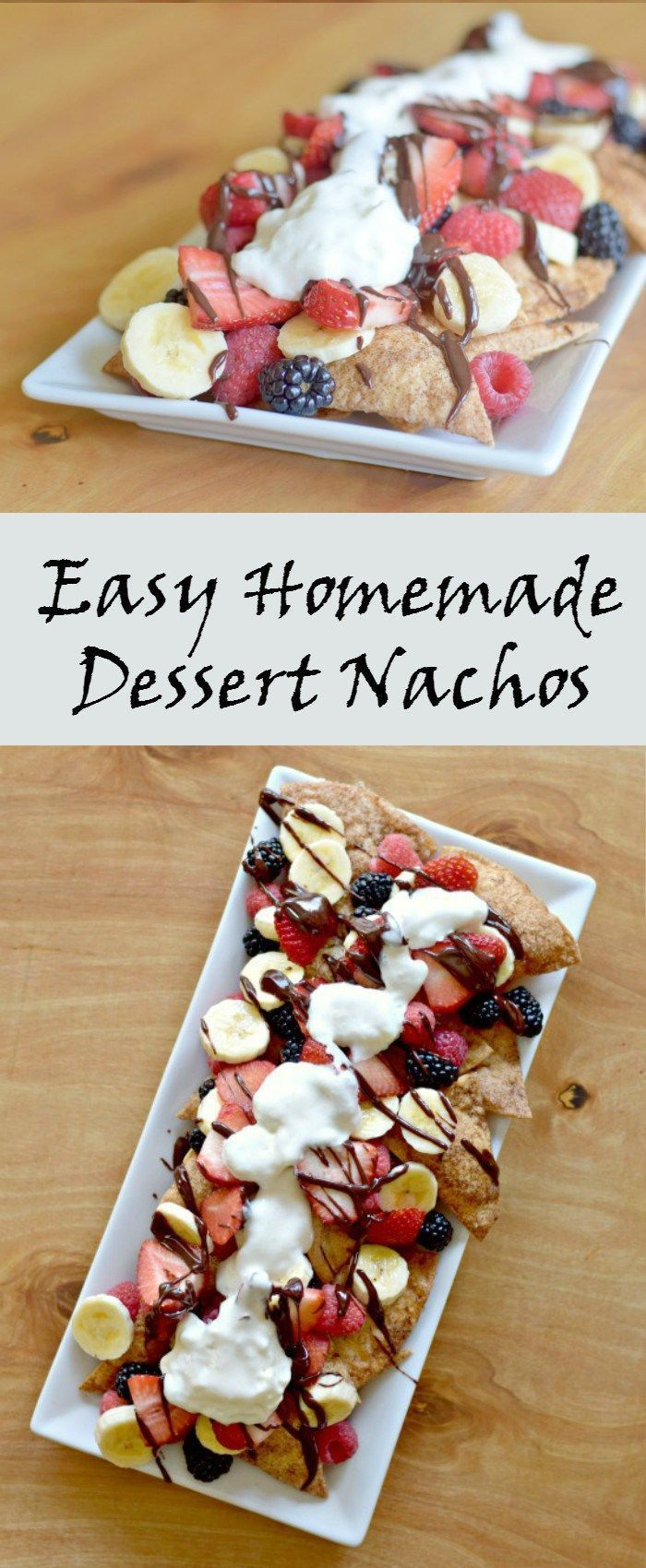 Easy homemade dessert nachos recipe with cinnamon sugar tortilla chips Mexican chocolate sauce, and fresh fruit for a lighter and delicious treat.