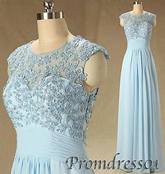 #promdress01 prom dresses - cute round neck short sleeve blue lace chiffon long prom dress for teens, ball gown for season 2015. #coniefox #2016prom