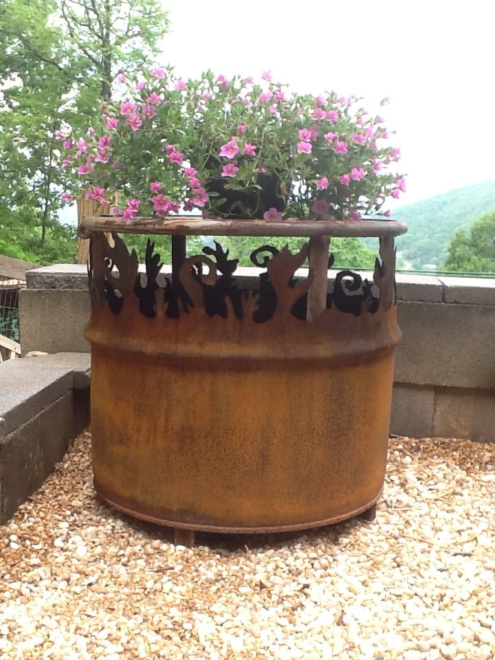 Perfect Bellavistaironworks Awesome Creation  Old Metal Barrel For Fire Pit, Top Is  Removable For A