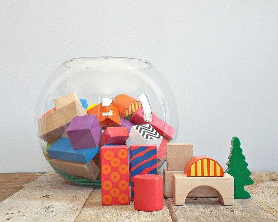 KIDS toys, natural and colored wooden blocks, vintage wood toy block, retro nostalgic children, toddler toy, kindergarten