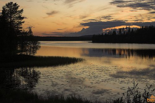 Sunset over lake Posio