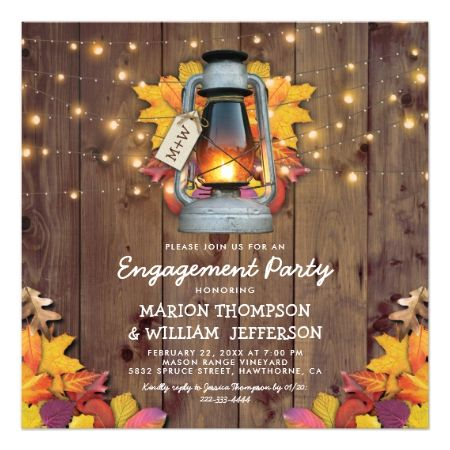 Rustic Fall String Lights Autumn Engagement Party Card - tap, personalize, buy right now!