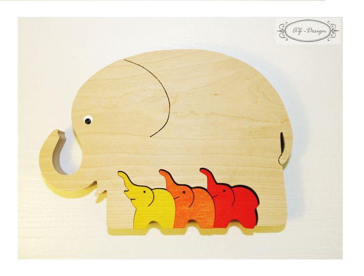 Puzzle en bois, éléphant, famille, nature, Afrique, jouet enfant : Jeux, jouets par az-design