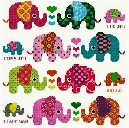 Ωραία σχέδια με μικρούς ελέφαντες για σταυροβελονιά   Lovely cross stitch patterns of little elephants     πηγή / source             πηγή...