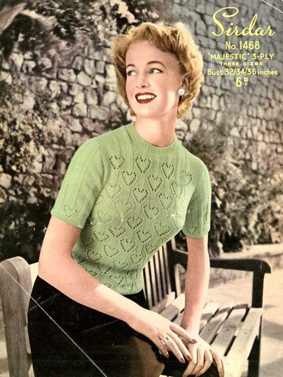 Cascading Hearts Jumper c. 1950s vintage by SubversiveFemme, $2.00