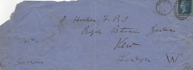 DARWIN CHARLES: (1809-1882) English Naturalist. Autograph Envelope Signed ('C. Darwin'), being the front panel only, slim oblong 8vo (9.5 x 4), addressed in Darwin's hand in bold, dark fountain pen ink to Dr Hooker FRS at the Royal Botanic Gardens, Kew, London W, and signed to the lower left corner. Bearing a blue two penny postage stamp and post marked at Bromley, Kent, July 1868.