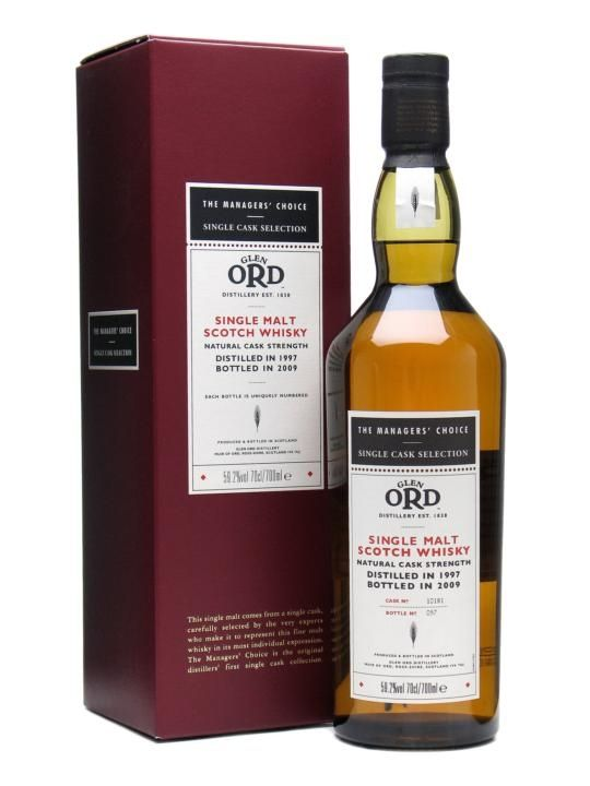 A single American oak cask of Glen Ord 1997, bottled at full strength for the Managers' Choice range. This is only the second ever official vintage bottling of Glen Ord from Diageo.