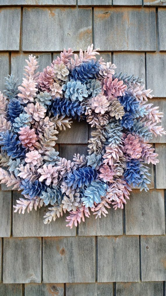 Gorgeous Painted Pinecone Wreath by scarletsmile on Etsy