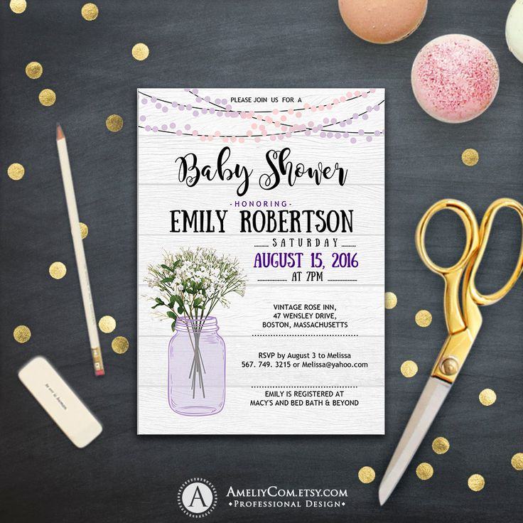 Rustic Baby Shower Invitation Printable Mason Jar Lavender Baby Shower Baby's Breath gender Neutral Country baby shower Instant DOWNLOAD PDF