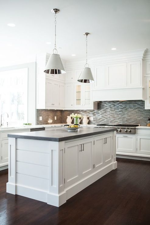 White And Grey Kitchen Features A Pair Of Restoration Warehouse Altamont Metal Pendants Illuminating Paneled Center