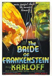 The Bride of Frankenstein (1935) stars Boris Karloff as the monster and Elsa Lanchester as the bride.