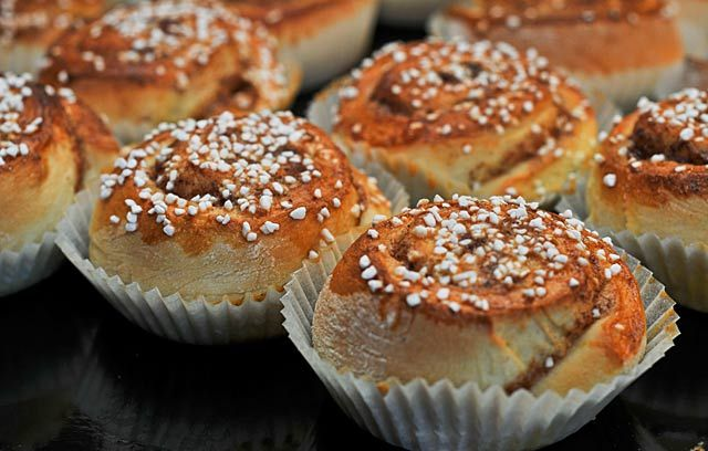 Kanelbullar, or cinnamon buns, are a classic at Swedish coffee parties. #Swedish #treats