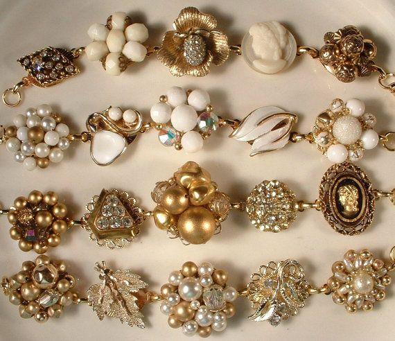 Charm Bracelet Ideas: Vintage White Pearl & Gold Bridal Bracelet Floral Cluster