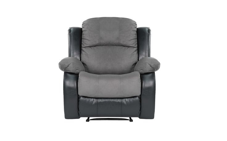 Traditional Brushed Grey Microfiber Recliner Chair with Black Bonded Leather Trim