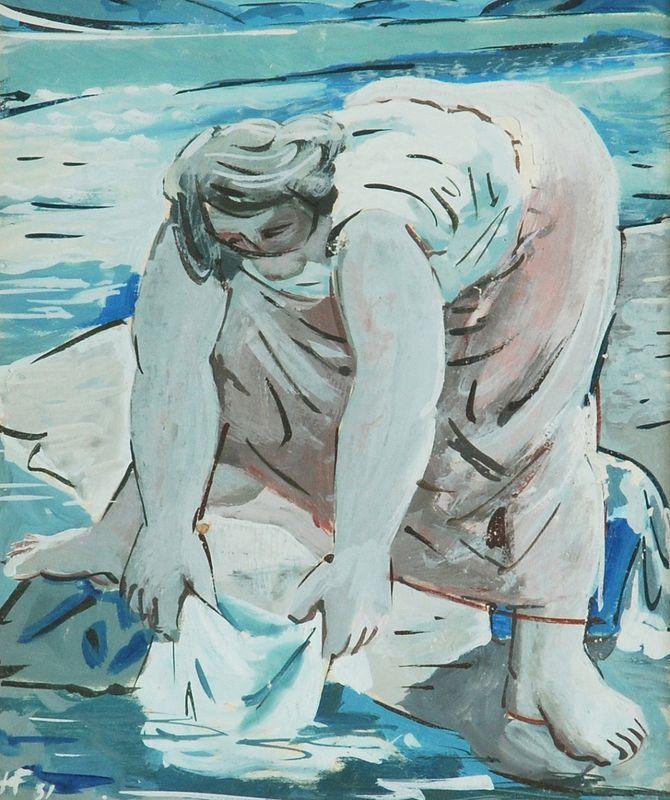 František Hudeček (Czech, 1909 - 1990)Laundress, 1931Tempera, paper